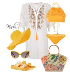 """""""Day At The Beach"""" by kmariestyles ❤ liked on Polyvore featuring River Island, Suboo, Birkenstock, Tory Burch, Accessorize and Linda Farrow Luxe"""