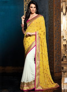 Perspectives Gold & White Georgette Saree