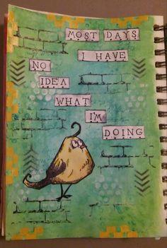 Art journal page using Faber-Castell Gelatos, stamps, distress inks, stencils, Tim Holtz Crazy Birds, acrylic paint #artjournal #distressink