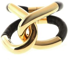 Currently coveting. BALENCIAGA Twin Gold and Leather Bracelet