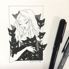 Inktober day 30! Black cats  I hope you guys don't mind that I'm continuing into November  I know I didn't finish in time but I really wanna finish all 31 drawings!