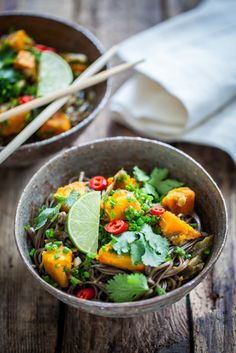 Pasta with eggplant, ginger, pumpkin, cilantro, chives and chopped chilli. (GP: peel & sees eggplant, replace chopped chili a puree or powder0
