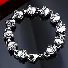 Style Men Jewelry Punk Rock Sull 316L Stainless Steel Chain Bracelet Lb28