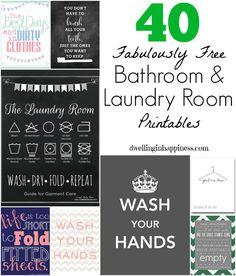 Fun Bathroom and Laundry Room Printables #bathroom #decor #printables