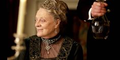 Violet, Dowager Countess - wearing diamond tiara, lacey teardrop earrings, and brilliant choker necklace