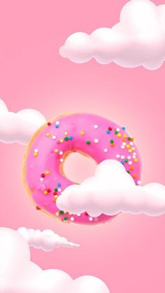 Flying Pink Donut – Wallpaper für iPhone – Think Pink - Yanna's Donuts Laden Whats Wallpaper, Food Wallpaper, Wallpaper Panels, Kawaii Wallpaper, Pink Wallpaper, Screen Wallpaper, Pattern Wallpaper, Wallpaper Backgrounds, Colorful Backgrounds