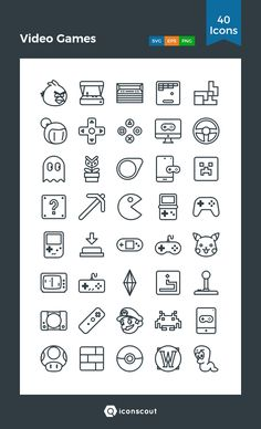 Video Games Icon Pack – 40 Line Icons - Minecraft, Pubg, Lol and Video Game Symbols, Video Game Logos, Video Game Drawings, Game Tester Jobs, Gamer Tattoos, Tattoo Videos, Video Game Tattoos, Gaming Tattoo, Tatuagem Old School