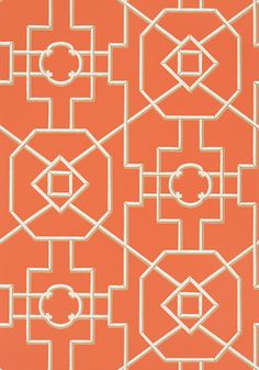 BAMBOO LATTICE, Coral, T36153, Collection Enchantment from Thibaut