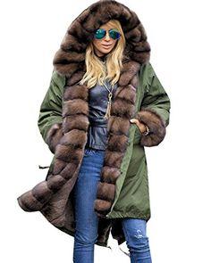 Roiii Womens Long Sleeve Winter Parka Thick Faux Fur Hooded Coat Jacket  Overcoat (XXX- 9cb8d3cefd1b