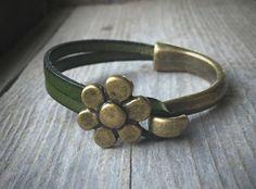 Brass Half Cuff Bracelet With Dark Green by McHughCreations