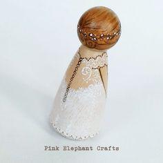 bride peg doll wedding cake topper