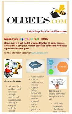 """Olbees.com is founded with a mission """"Leverage online platforms to help millions of people's learning dreams come true"""". Taking advantage of online trends, make education accessible especially to rural areas with a vision """"To become the most trusted portal that connects online learning seekers and providers globally""""."""