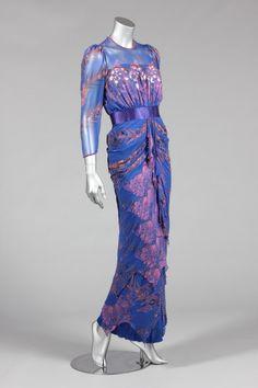 Zandra Rhodes printed blue chiffon evening gown, circa 1984