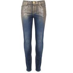 Vivienne Westwood Anglomania Denim New Monroe Jeggings (2.095 NOK) ❤ liked on Polyvore featuring pants, leggings, jeans, denim, trousers, blue denim leggings, wetlook leggings, skinny leggings, denim jeggings and shimmer leggings