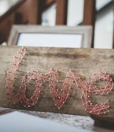 Wooden nail string love sign