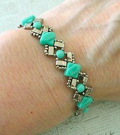 Wow! This Turquoise Tila Bead DIY Bracelet is mesmerizing.