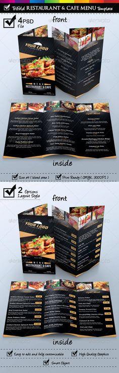 Trifold Restaurant & Cafe Menu Template #design #alimentationmenu Download: http://graphicriver.net/item/trifold-restaurant-cafe-menu-template/6832892?ref=ksioks