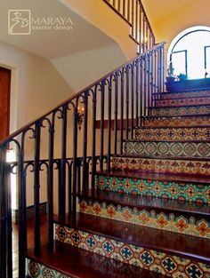 Malibu Tile Stair - mediterranean - staircase - santa barbara - by Maraya Interior Design