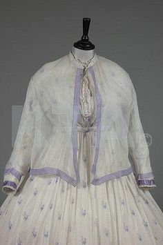 Two printed muslin summer gowns, 1860s, - by Kerry Taylor Auctions