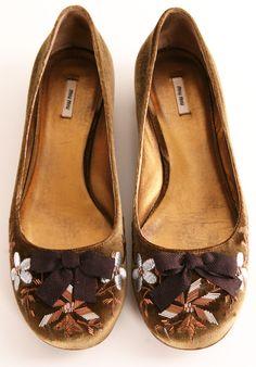 Miu Miu Bronze Velvet Ballet Flats featuring a floral design upper and brown bow