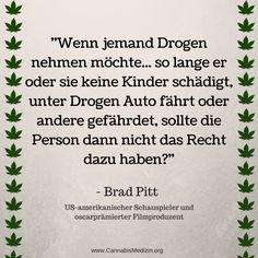 Wir können uns der Meinung von Brad Pitt nur anschließen.  Jede Person über 18 Jahre sollte die Wahl haben ob er oder sie Alkohol trinken, Zigaretten rauchen, Cannabis konsumieren oder gar keine Drogen nehmen möchte. Solange die Person damit verantwortungsvoll umgeht und keine andere Person damit schadet, sollte sie dieses Recht haben.  Cannabis Hanf Hemp Weed Marijuana Marihuana Brad Pitt Drogen Droge