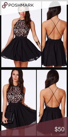 """Black and pink Lace Dress Adorable dress. Perfect for an evening out. NWOT. MEDIUM: Bust: relaxed=33"""" stretched=36"""". Waist: relaxed=28"""" stretched=31.5"""". Hips: relaxed=33"""" stretched=54"""". Length=34"""" LARGE: Bust: relaxed=34"""" stretched=38"""". Waist: relaxed=29"""" stretched=32"""". Hips: relaxed=35"""" stretched=32"""". Length= 35"""" Dresses"""