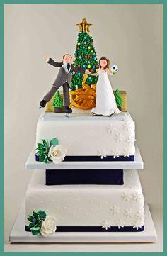 Ice Skating Christmas Wedding Cake