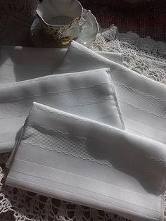 White Satin Stripe Polyester Napkins New Old Stock Vintage