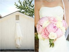 wedding dress shot, sweet pink peony and white rose bouquet, classic Southern navy and pink wedding, Robyn Van Dyke Photography