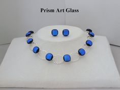 Azure Blue Dichroic Blue Jewellery Suite by prismartglass on Etsy, Washer Necklace, Glass Art, Jewellery, Unique Jewelry, Handmade Gifts, Blue, Etsy, Vintage, Kid Craft Gifts