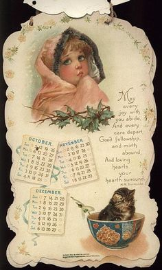 PLAYMATES CALENDAR FOR 1902. Dad, Arthur Humphreys, was born Thursday, December 4, 1902.