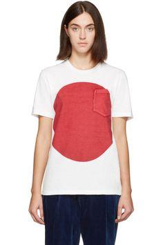Blue Blue Japan - T-shirt blanc et rouge Flag
