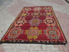 Red Anatolian Kilim Rug Large area rug hand woven by KilimRugStore