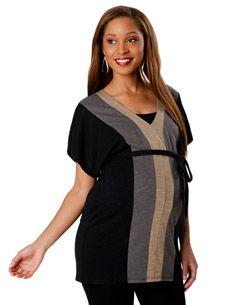 Short Sleeve V-neck Colorblock Maternity Tunic