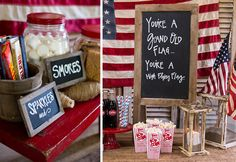 "✯4th of July Table~ Love the chalkboard: ""You're a grand old flag... you're a high-flying flag.!"" ✯ + sparklers & s'mores✯"