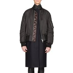 Sacai Luck Layered Bomber Jacket ($1,955) ❤ liked on Polyvore featuring outerwear, jackets, apparel & accessories, stand collar jacket, lined bomber jacket, flight bomber jacket, long bomber jacket and long jacket