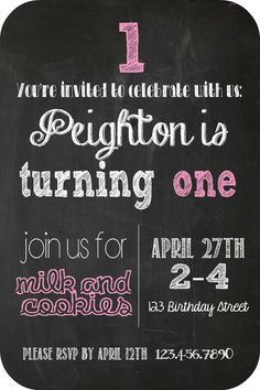 Chalkboard Party Invitation with Free Fonts