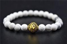 Gold Leo Lion Tiger Eye Beads Bracelets Bangles bijoux pulseras Rope Chain Natural Stone Volcanic Bracelets Women Men Jewelry