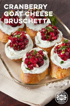 Cranberry Goat Cheese Bruschetta, with cranberries, ginger, sugar, honey and Sriracha, makes for a foolproof party nibble or a quick delicious snack.