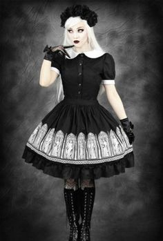 Restyle-Gothic-Lolita-Rock-Petticoat-Engel-Weeping-Angel-Doctor-Midi-Who-Skirt