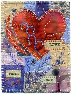 Faith, Hope, and Love mini quilt by Baumcat