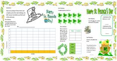 Saint Patrick's Day Math Mat FREEBIE. Covers several math concepts.