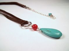 Silver Howlite Turquoise Carnelian Deerskin Suede Leather Necklace by CarmenRVT on Etsy