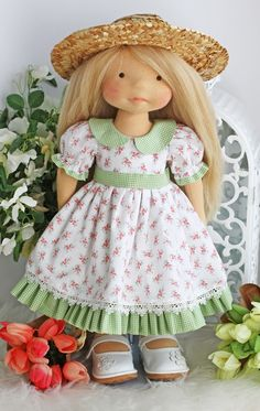"Image of ""Sunnybrook Farm Dress & Hat"" fits most 17"" -19"" dolls"