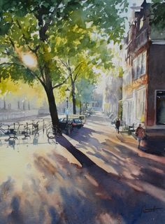 Watercolor International II: HANNIE RIEUWERTS, Against the light, 37 x 49 cm