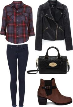 Rock Concert Outfit Untitled #130 by brooke1498 featuring indigo jeans Topshop purple checkered shirt / Cropped fur jacket / Topshop indigo...