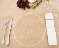"""-Tablecloths made from kraft paper were beautifully calligraphed with  guests' names inside scalloped outlines of plates. Mismatched  collections of bottles with loose picked blooms and baskets spilling  with cherries tumbled down the length of the tables. Kitchen towels  rolled with twine took the place of napkins.."" - I like the idea of kitchen towels as an alternative to napkins"