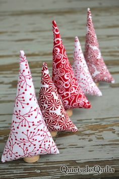 Peppermint Trees  Tiny Forest of 5 red and white by QuietudeQuilts, $15.00
