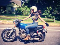 Lana (who does photography and runs the Women's Moto Exhibit) and I went out today to shoot some photos for giveaways (keep an eye out). I snapped this one of her on the XS400 with my phone on the ride back to home base. [ more photos tagged Lanakila MacNaughton ]