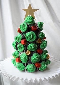 weihnachtsbaum basteln cupcakes süßigkeiten papier stern